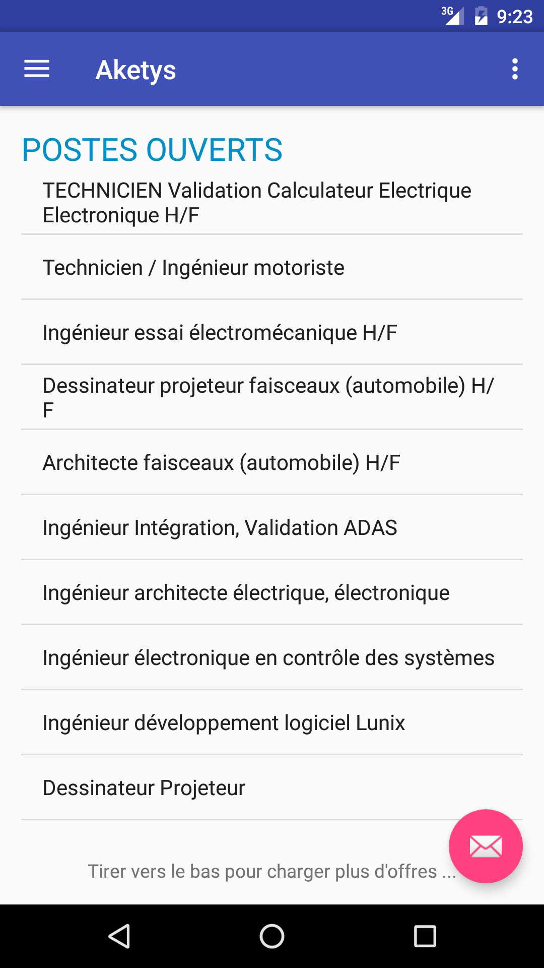 Application liste offre